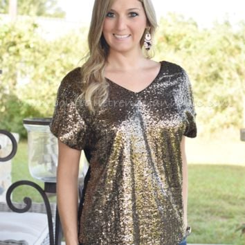 SHINE YOUR LIGHT GOLD SEQUIN TOP