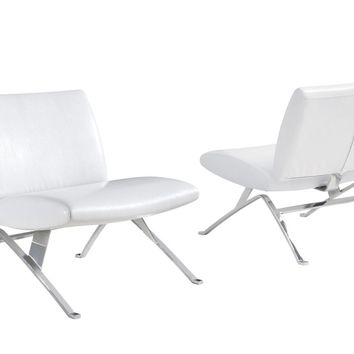 White Leather-Look / Chrome Metal Modern Accent Chair