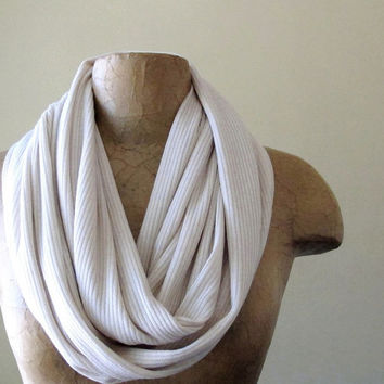 Ivory Sweater Scarf  Ribbed Knit Infinity Scarf  by EcoShag