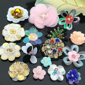 3D manual flower beaded patches applique vintage sequins embroidered sew on patch fashion T-shirt coat clothing decoration patch