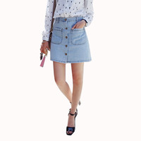 America Apparel Button short Denim Skirt Mini High Waist Short Falda Skirts Jeans Saia Slim Hip A-line Female Pencil Skirt C2303