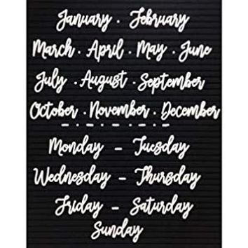 Cursive Days of the Week and Months of the Year Letter Set for Felt Letterboards - Letter Board -White