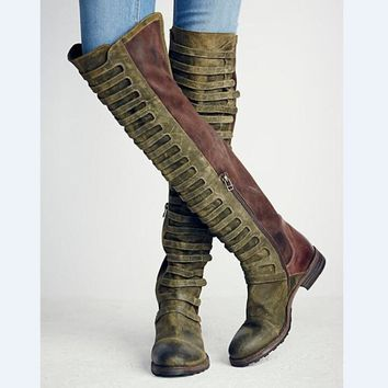 Fashion Cut-outs Knee High Boots Italian Style Patchwork Motorcycle Boots Warm Flock Platform Riding Boots Round Toe Shoes Woman