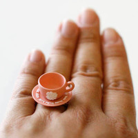 Kawaii Cute Miniature Food Ring - Teacup with a saucer (Pink)