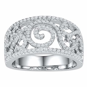 10kt White Gold Womens Round Diamond Swirl Filigree Band Ring 5/8 Cttw