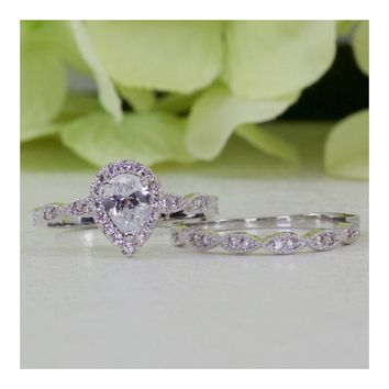 0.75 ct. Sterling Silver Halo Art Deco Style Pear CZ Engagement Ring Set