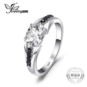 JewelryPalace Fashion 1.68ct Cubic Zirconia & Black Spinel Women Engagement Wedding Rings Solid 925 Sterling Silver Fine Jewelry
