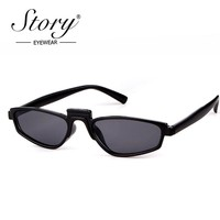 STORY Vintage Small Sunglasses 2018 Fashion Gothic Steampunk Small Cat Eye Sun Glasses Skinny Black White Shade Female Eyewear