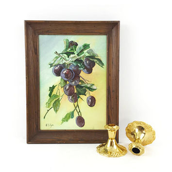 Signed Original Artwork / Framed Fruit Still Life Painting / Vintage Handmade Wall Art / Neutral, Purple, Green Palette / Vintage Wood Frame