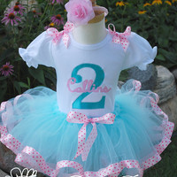 Girls Birthday Outfit-  Girls Birthday Tutu Outfit in Aqua and Pink Polka dots