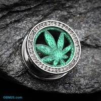 Sparkle Pot Leaf Multi Gem Screw-Fit Ear Gauge Tunnel Plug