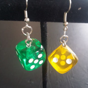 Dice Earrings from board games - 6 Translucent colors! For the Geeky, Nerdy, Gamer, or Board gamer in you!