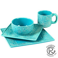 Turquoise Tooled 16Pc Dinner Set