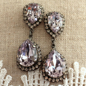 Light purple Crystal Black Chandelier earrings, Swarovski  earrings, Bridal earrings,statement earrings, Purple chandelier Halo earrings.