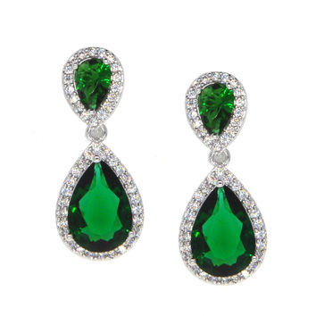 Dear Deer White Gold Plated Classic Green Teardrop CZ Dangle Earrings