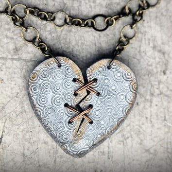 Ex Marks The ART Heart - Acrylic Laser Cut Broken and Mended Heart Necklace