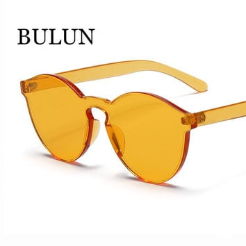 BULUN High Quality Integrated Rimless Sunglasses Women Brand Designer Clear Frame Flat Lens Sun Glasses Oculos De Sol Feminino