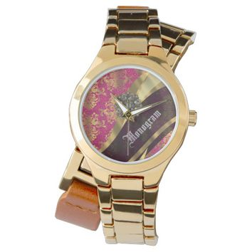 Pretty magenta vintage damask pattern watch
