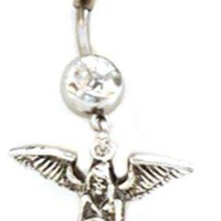 Belly Ring Reaper Gothic Winged w/White Cat's Eye Dangle Naval Steel Body