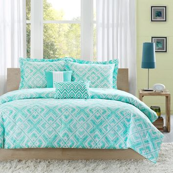 Full / Queen Comforter Set w/ Geometric Light Teal Squares