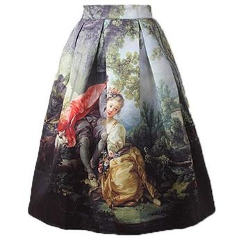 Vintage Women Skirts Knee Length Fashion Retro Oil Painting Girl High Waist Pleated Skater Skirt For Print Women Fashion