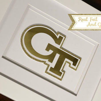 Custom College Mascot Real Foil Print With Frame (Optional) - Georgia Tech, Dorm Decor, Graduation Gift, Framed Art, Office, Gift For Boss