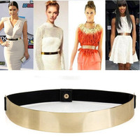 Elastic Metal Waist Belt Metallic Gold
