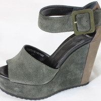 """~~~ THESE ROCK! ~~~ PIERRE HARDY $595 SUEDE """"TWO-TONE"""" WEDGE SANDALS/HEELS ~ 37"""
