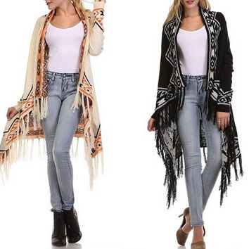 Eliza Bella Boho Draped Cardigan Sweater Two Colors SML