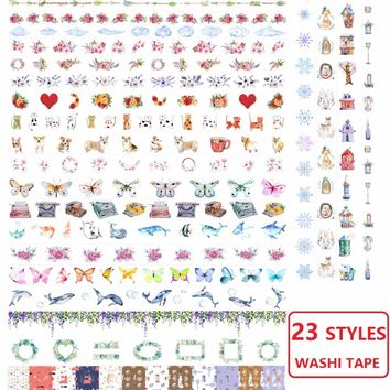 23Designs Flowers/Snowflakes/Cloud/Dogs/Whale/Fish Japanese Washi Decorative Adhesive Tape DIY Masking Paper Tape Sticker Label