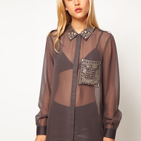 ASOS Shirt With Embellished Collar And Pocket