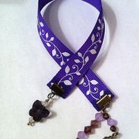 Purple ribbon bookmark with white ivy leaves and butterfly crystal, ribbon bookmark, valentines day gifts