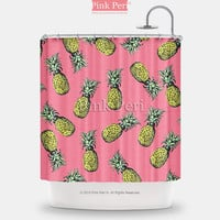 Pineapples On Pink Background Shower Curtain Free shipping Home 194
