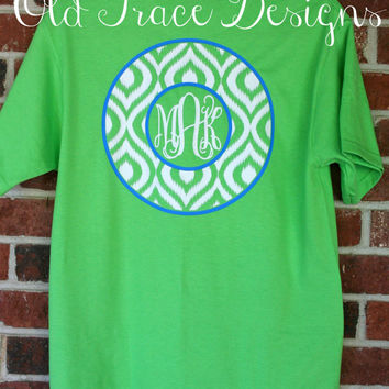 Short Sleeve Monogram Ikat T Shirt Personalized Custom You choose colors!
