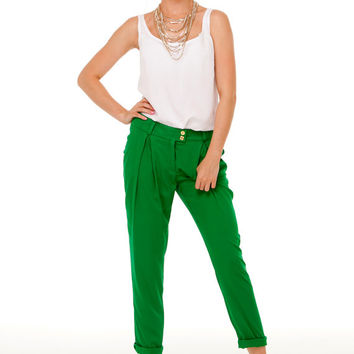 Green Pants for Woman,Bright Summer pants,Green Summer,Casual Pants for Women,Street Style Trousers  elegant