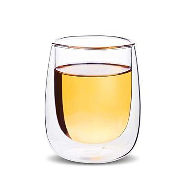 Leadfree Double Walled Borosilicate Crystal Clear Glass Mug 7oz Coffee Cup Mug for Ice Coffee EspressoCreative Wine Glass Double Wall Insulated Glassware 7oz