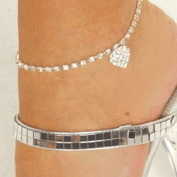 Fashion Puff Heart Shape Women Accessories Jewelry Anklet _ 2227