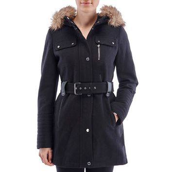 Belted Wool Blend Parka with Faux Fur Hood Trim 110101711