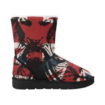 Union Jack Lion Winter Snow Boots Unisex Single Button