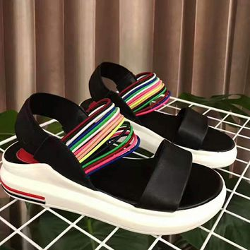 The summer Rainbow hollow sandals shoes black H-ALXY