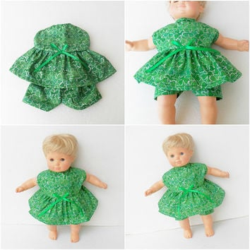 bitty baby doll clothes girl or 15 inch twin, St. Patrick's Day, Irish, Shamrock, dress and shorts outfit 2 pc, adorabledolldesigns