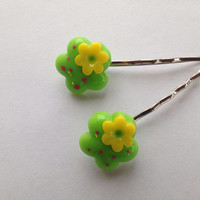 Lime Green Hair Flower Pin - Tropical Hair Flower Bobby Pin - Green Flower Bobby Pin - Silver Bobby Pins - Gifts for Teen Girls -