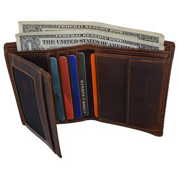 Cazoro Mens Hunter Leather RFID Bifold Trifold Card ID Wallet W/ Coin Pocket