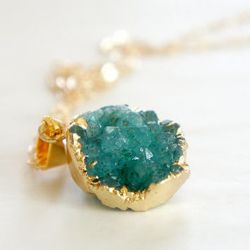 Druzy Necklace - Green - Natural Agate Titanium Druzy Geode Quartz Crystal Rough Cut Rock Round Nugget Necklace OOAK - SDN06