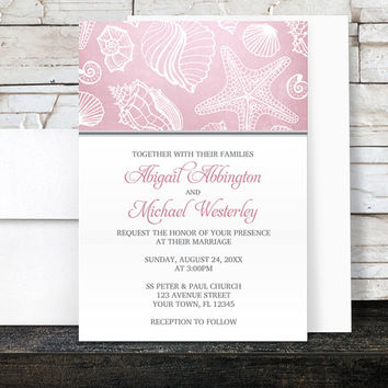 Pink Beach Wedding Invitations - Pink Seashell Pattern Gray - Seashell Wedding Invitations - Printed
