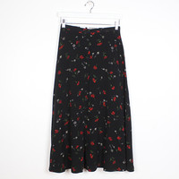 Vintage 1990s Skirt Black Red Green Floral Rose Daisy Grunge Midi Skirt Soft Grunge Skirt 90s Skirt Gauzy Thin Ditsy Floral Boho S Small M