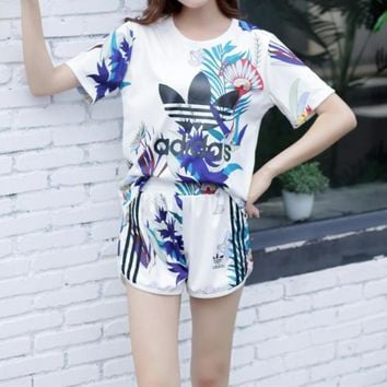 """Adidas"" Women Casual Fashion Print Short Sleeve Shorts Set Two-Piece Sportswear"