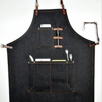 Black Denim Bib Apron w/ Leather Straps Barber Florist Bartender Chef Uniforms Carpenter Baker Home BBQ Workwear