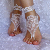 Barefoot Sandals, french lace, Nude shoes, Foot jewelry,Wedding, Victorian Lace, Sexy, Yoga, Anklet , Belly Dance