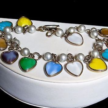Vintage Sweetheart Faux Pearl and Dangling Colored Heart Charms Link Bracelet